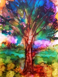 Vivid Tree - Alcohol Ink